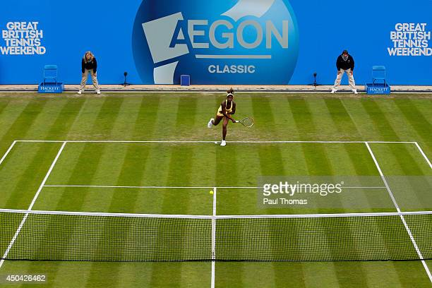 Sloane Stephens of the USA in action against Francesca Schiavone of Italy during day three of the Aegon Classic at the Edgbaston Priory Club on June...
