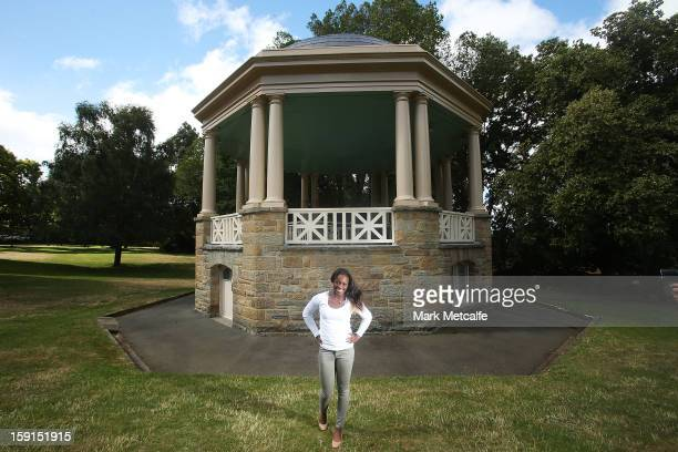 Sloane Stephens of the USA poses on a visit to St David's Park during day six of the Hobart International at Domain Tennis Centre on January 9 2013...