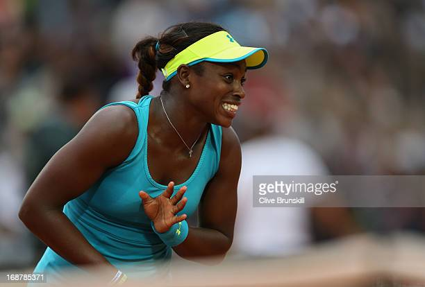Sloane Stephens of the USA shows her emotions against Kiki Bertens of Netherlands in their second round match during day four of the Internazionali...