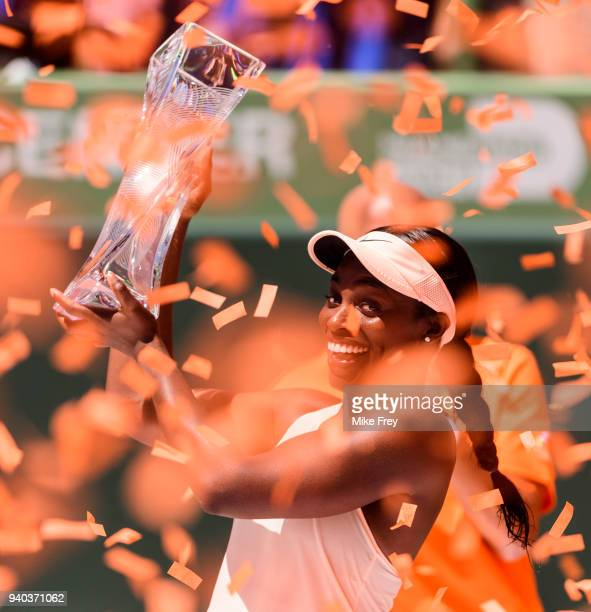 Sloane Stephens of the USA with the trophy after beating Jelena Ostapenko of Latvia 7-5 6-1 in the women's final on Day 13 of the Miami Open...
