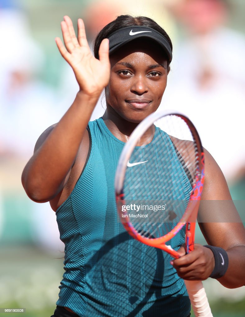 Sloane Stephens of United States celebrates victory in her Women's Singles Semi Final match against Madison Keys of United States during day twelve of the 2018 French Open at Roland Garros on June 7, 2018 in Paris, France.