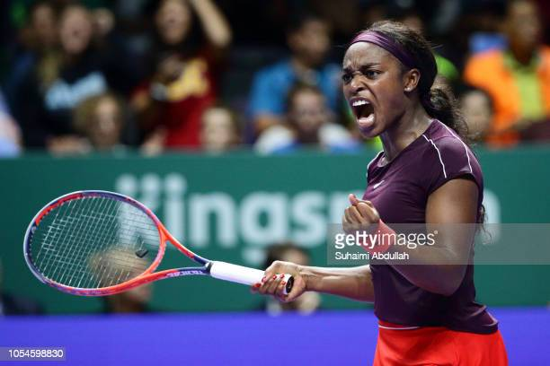 Sloane Stephens of United States celebrates winning a point in her singles final against Elina Svitolina of Ukraine during day 8 of the BNP Paribas...