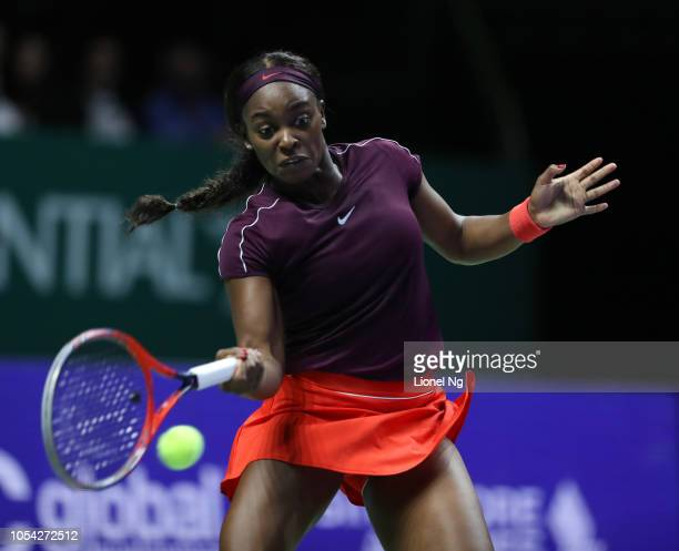 Sloane Stephens of United States in action during the Womens Singles semifinal match against Karolina Pliskova of Czech Republic on day 7 of the 2018...