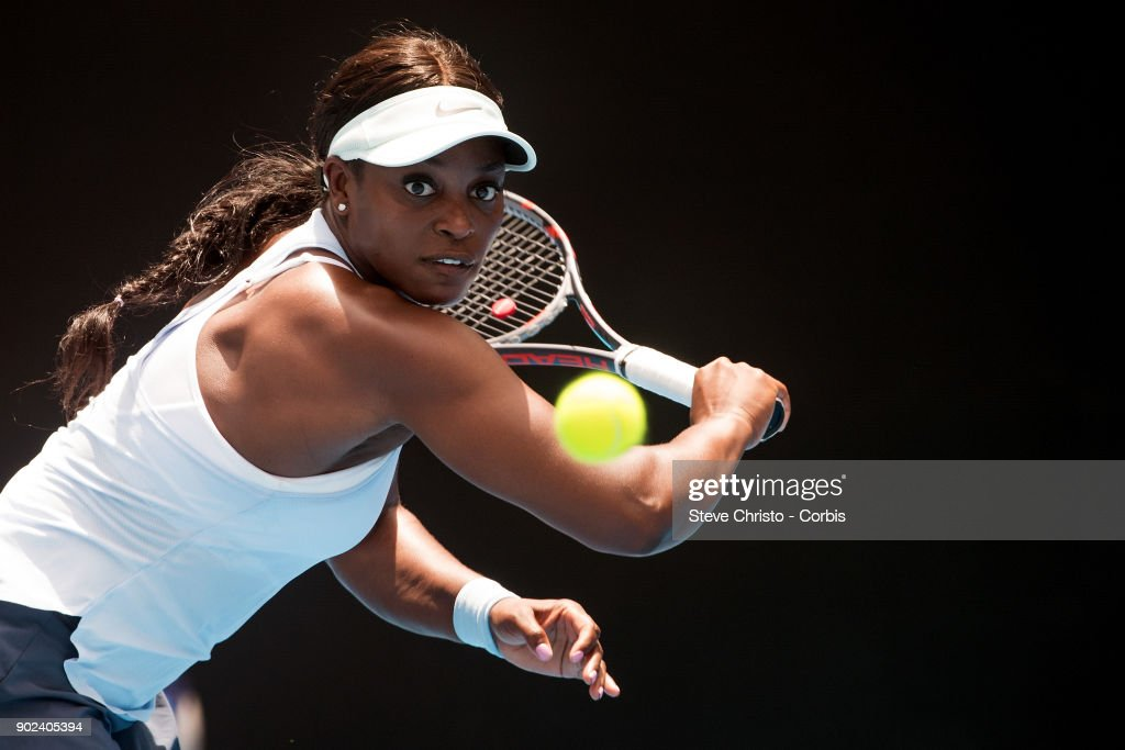 Sloane Stephens of United States plays a backhand in her first round match against Camila Giorgi of Italy during day one of the 2018 Sydney International at Sydney Olympic Park Tennis Centre on January 8, 2018 in Sydney, Australia.