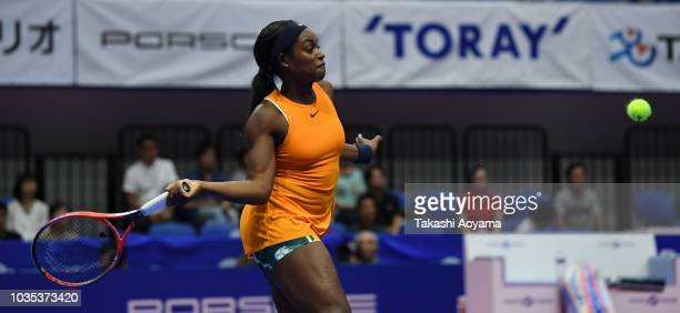 Sloane Stephens of United States plays a forehand against Donna Vekic of Croatia during their Women's singles first round match on day two of the...