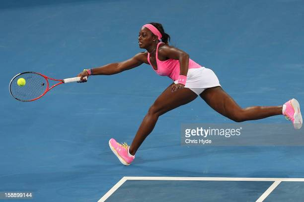 Sloane Stephens of United States plays a forehand during her match against Serena Williams of United States on day five of the Brisbane International...
