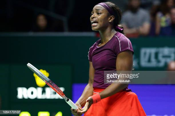 Sloane Stephens of United States reacts losing a point in her singles semi final match against Karolina Pliskova of Czech Republic of Germany during...