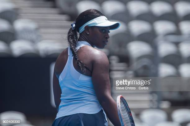 Sloane Stephens of United States reacts to missing a point in her first round match against Camila Giorgi of Italy during day one of the 2018 Sydney...