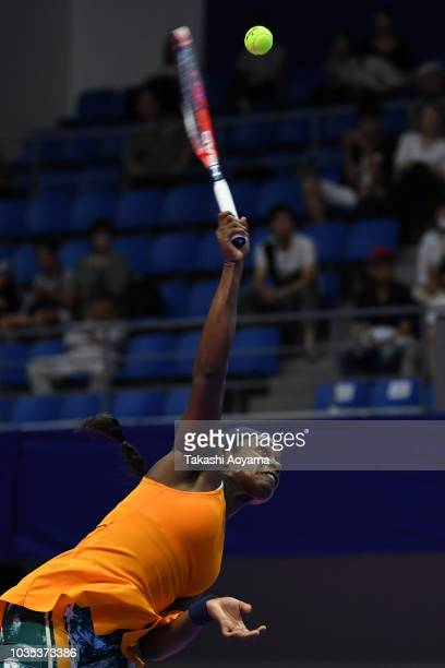 Sloane Stephens of United States serves against Donna Vekic of Croatia during their Women's singles first round match on day two of the Toray Pan...