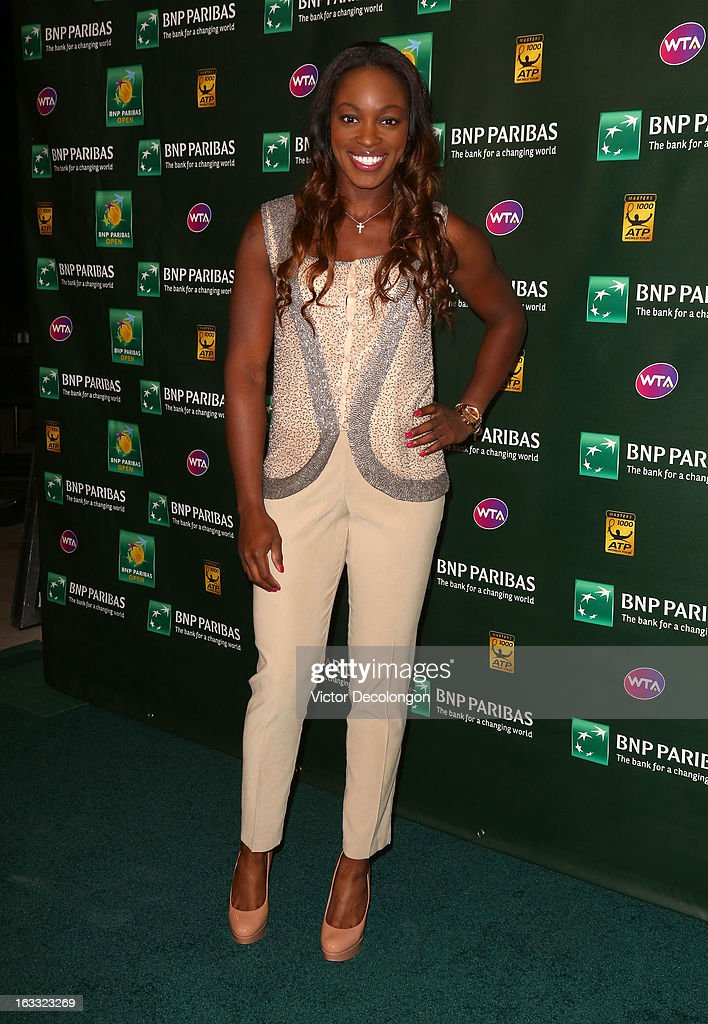 Sloane Stephens of USA arrives for a player's party at the IW Club on March 7, 2013 in Indian Wells, California.