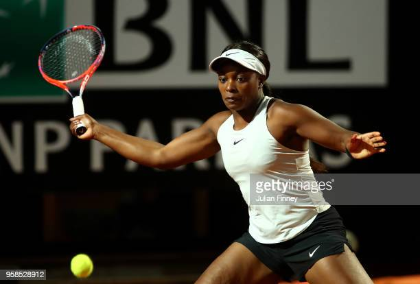Sloane Stephens of USA in action against Barbora Strycova of Czech Republic during day two of the Internazionali BNL d'Italia 2018 tennis at Foro...