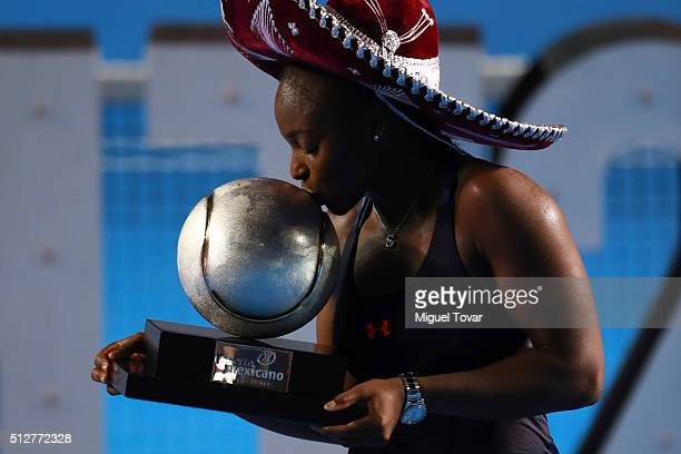 Sloane Stephens of USA kisses the trophy after winning the woman's final singles match between Dominika Cibulkova of Slovakia and Sloane Stephens of...