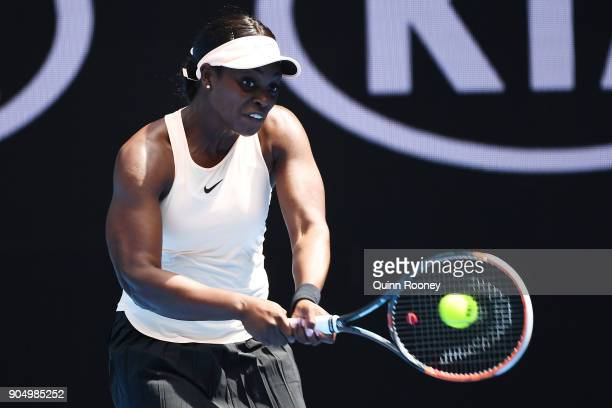 Sloane Stephens of USA plays a backhand in her first round match against Shuai Zhang of China on day one of the 2018 Australian Open at Melbourne...