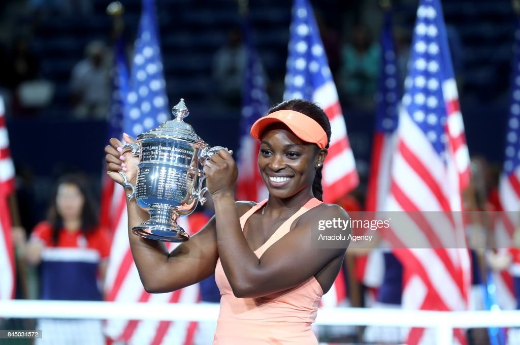 Sloane Stephens of USA poses for a photo with the 2017 US Open Tennis Championships trophy after winning the Women's Singles Final tennis match against Madison Keys of USA (not seen) within the 2017 US Open Tennis Championships at Arthur Ashe Stadium in New York, United States on September 9, 2017.