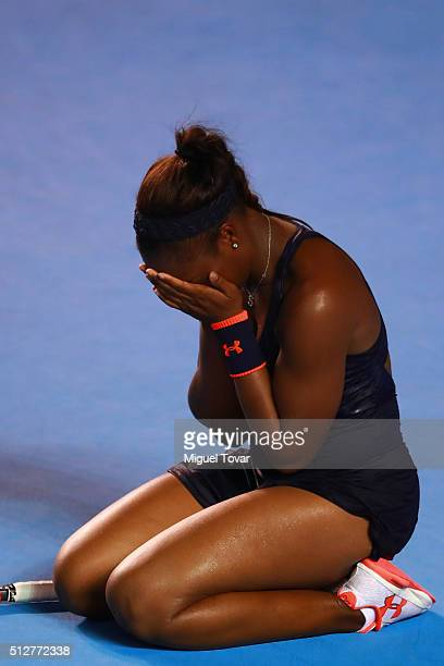 Sloane Stephens of USA reacts after winning the woman's final singles match between Dominika Cibulkova of Slovakia and Sloane Stephens of USA as part...