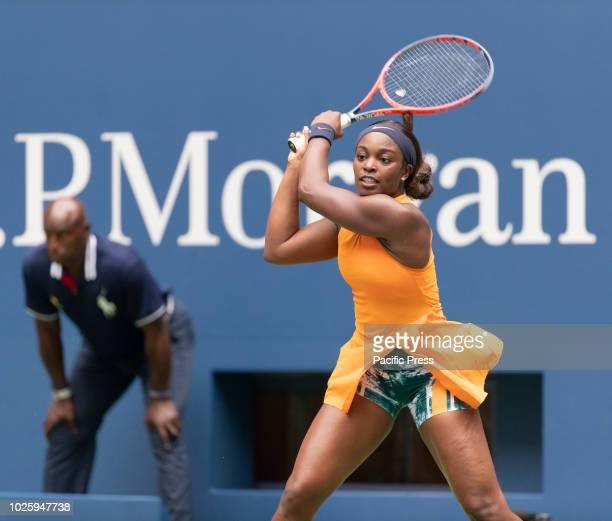 Sloane Stephens of USA returns ball during US Open 2018 3rd round match against Victoria Azarenka of Belarus at USTA Billie Jean King National Tennis...