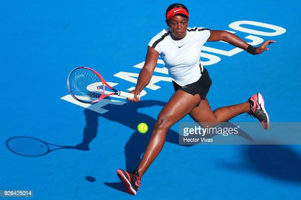 Sloane Stephens of USA takes a forehand shot during the match between Sloane Stephens of USA and Stefanie Vogele of Switzerland as part of the Telcel...
