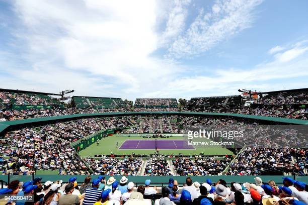 Sloane Stephens plays Jelena Ostapenko of Latvia during the women's final of the Miami Open Presented by Itau at Crandon Park Tennis Center on March...