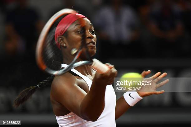 US Sloane Stephens returns a ball to France's Kristina Mladenovic during the Fed Cup semifinal tennis match between France and US on April 22 2018 at...