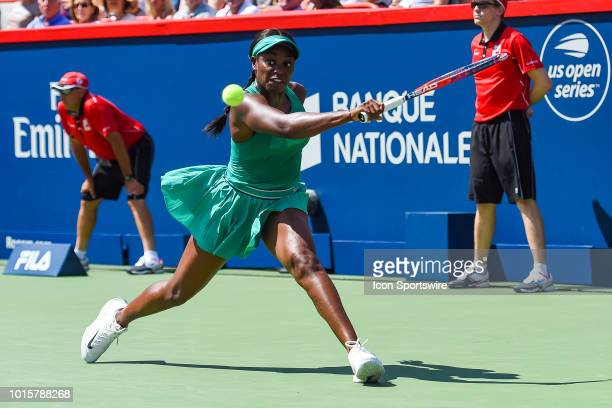 Sloane Stephens returns the ball during the WTA Coupe Rogers final on August 12 2018 at IGA Stadium in Montréal QC