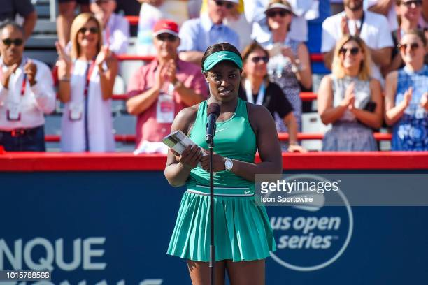 Sloane Stephens runner up of the WTA Coupe Rogers final addresses the crowd while holding her second place trophy on August 12 2018 at IGA Stadium in...