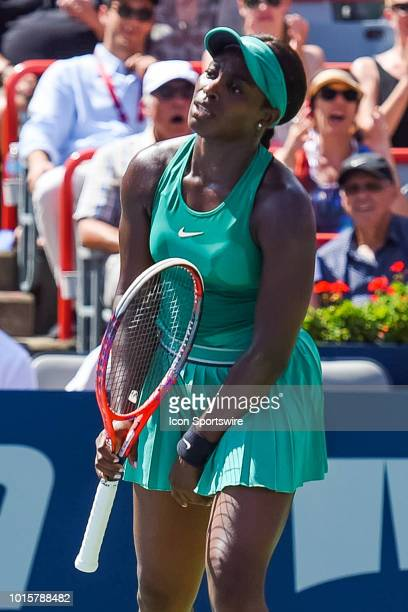 Sloane Stephens shows disappointment after missing a point during the WTA Coupe Rogers final on August 12, 2018 at IGA Stadium in Montréal, QC