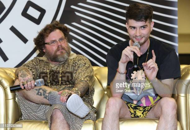 Slobby Robby and Paul Cantu of Houston Texas participate in a panel conversation during SneakerCon 2019 at Fort Lauderdale Convention Center on...
