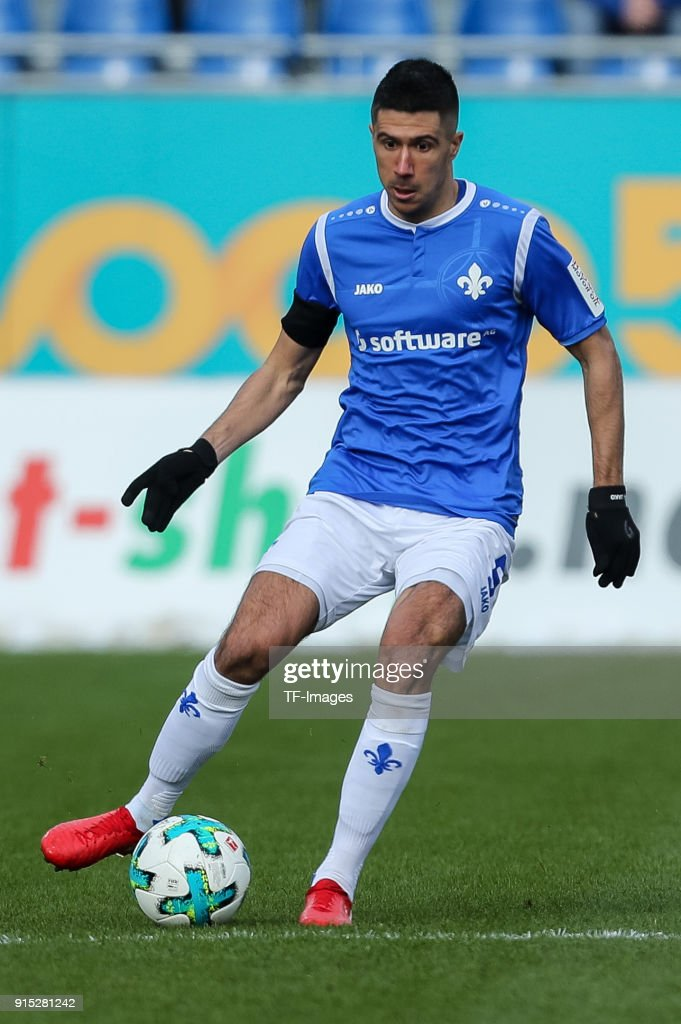 Slobodan Medojevic of Darmstadt controls the ball during the Second Bundesliga match between SV Darmstadt 98 and MSV Duisburg at Merck-Stadion am Boellenfalltor on February 4, 2018 in Darmstadt, Germany.