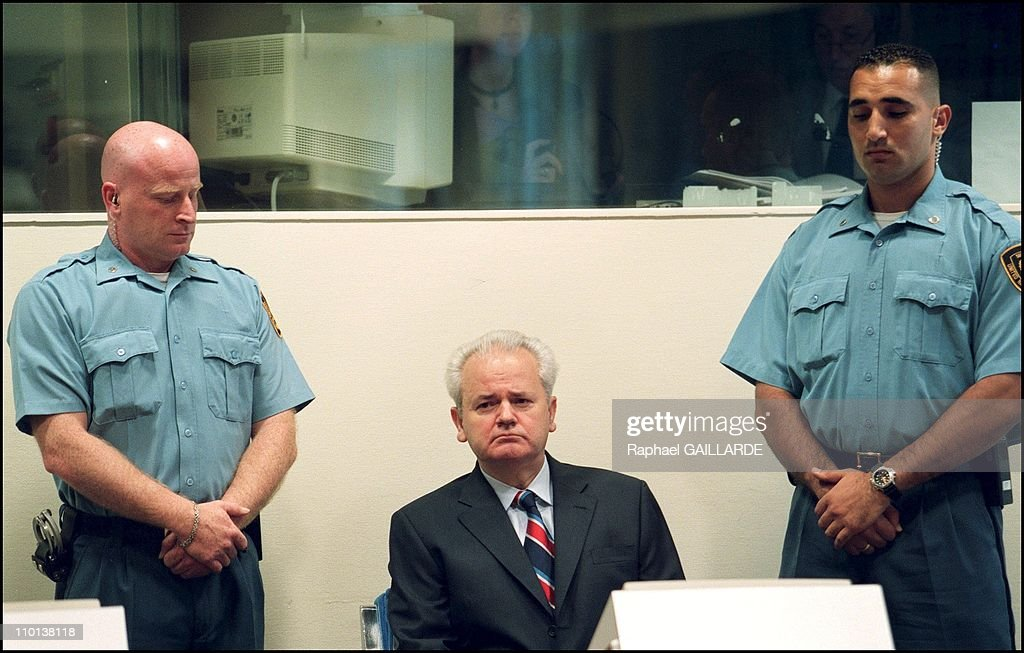 Slobodan Milosevic refuses the presence of any lawyer during his initial hearing of Thursday before the ICTY in The Hague, Netherlands on July 03, 2001. : News Photo