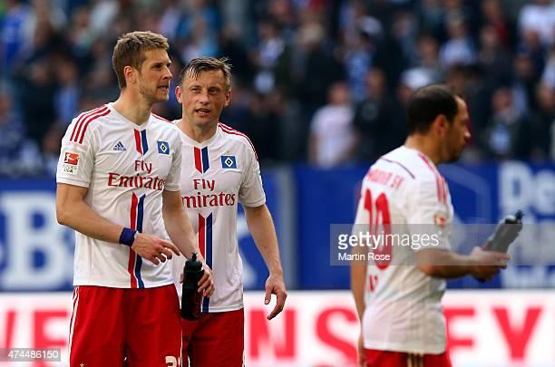 Slobodan Rajkovic and Iviva Olic of Hamburg react after the Bundesliga match between Hamburger SV and FC Schalke 04 at Imtech Arena on May 23 2015 in...