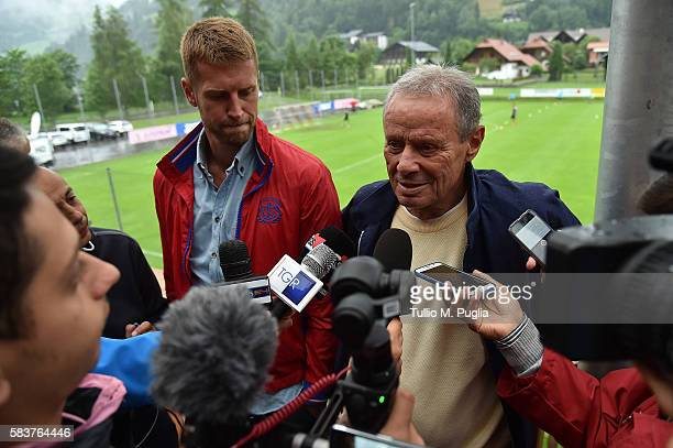 Slobodan Rajkovic, new player of Palermo, and President Maurizio Zamparini answer question during a press conference before the friendly match...