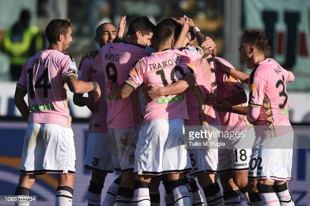 Slobodan Rajkovic of Palermo celebrates after scoring his team's second goal during the Serie B match between Padova and US Citta di Palermo t Stadio...