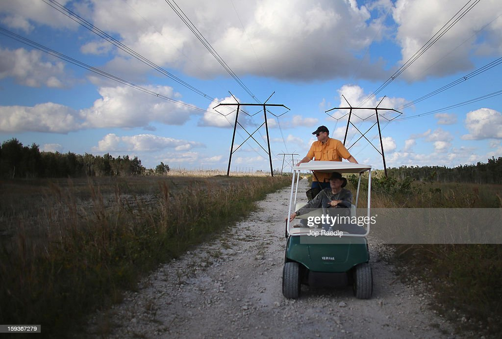 BR Slocum drives a golf cart with his son, Ray Slocum, as they hunt for python's in the Florida Everglades on the first day of the 2013 Python Challenge on January 12, 2013 in Miami, Florida.The Florida Fish and Wildlife Conservation Commission and its partners launched the month long 2013 Python Challenge to harvest Burmese pythons in the Florida Everglades, a species that is not native to Florida.The contest features prizes of $1,000 for catching the longest snake and $1,500 for catching the most.