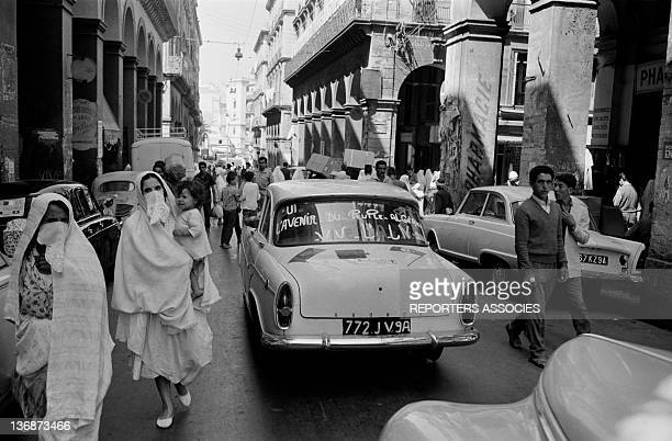 Slogan to support the ALN written on the windscreen of a car in a street during during June 1962 in Algiers Algeria
