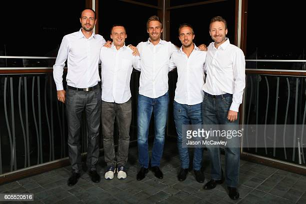 Slokavian Davis Cup players Igor Zelenay Jozef Kovalik Norbert Gombos Andrej Martin and captain Miloslav Mecir pose during the Davis Cup World Cup...
