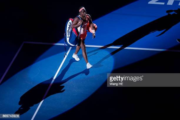 Slonae Stephens of USA walks to the court prior to match of the WTA Elite Trophy Zhuhai 2017 against Barbora Strycova of Czech at Hengqin Tennis...