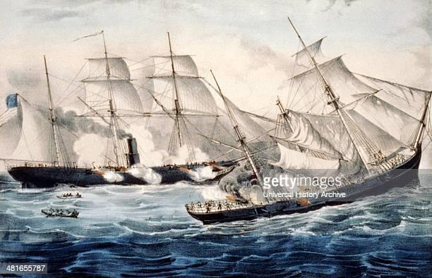 US sloop of war Kearsarge 7 guns sinking the pirate Alabama 8 guns off Cherbourg France Sunday June 19th 1864 Illustration by Currier Ives c1864