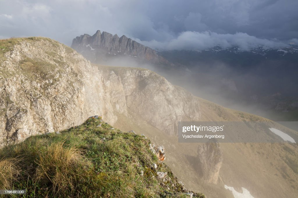 Slopes of Asbestnaya Mount in clouds, Early summer in Caucasus Mountains : Stock Photo