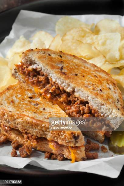 sloppy joe grilled cheese sandwiches with sweet pickles - sloppy joe, jr stock pictures, royalty-free photos & images