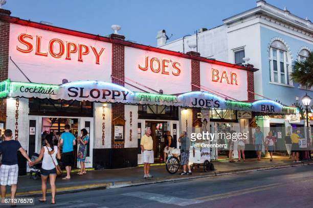 Sloppy Joe's Bar entrance at night.