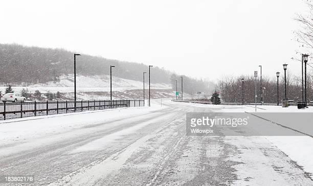 Sloppy Slushy Winter Blizzard Highway Rest Stop