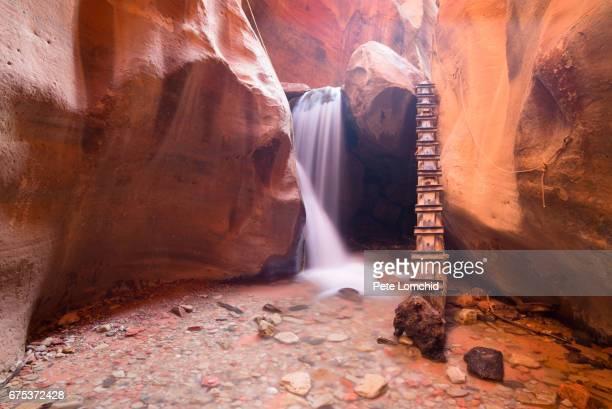 Slot canyon water fall Kanarra creek