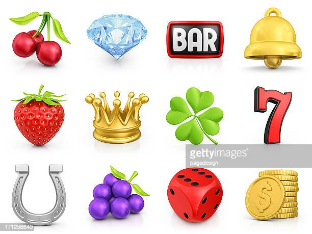 slot machine icons - luck stock pictures, royalty-free photos & images