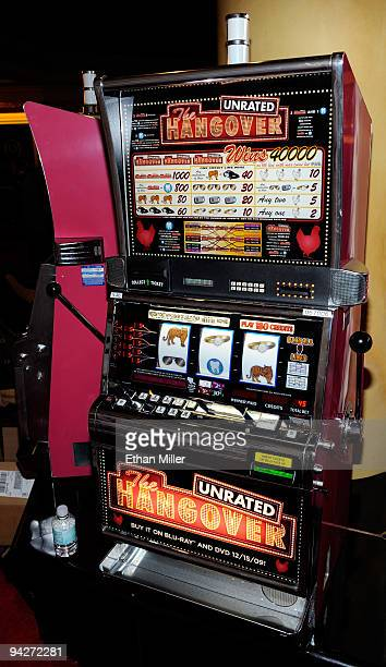 A slot machine with a 'The Hangover' movie theme is seen during the DVD launch party for the film at the Pure Nightclub at Caesars Palace December 10...