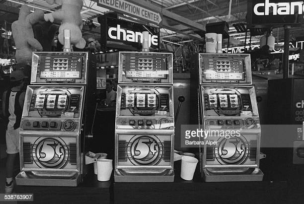 Slot machines in a casino in Wildwood, New Jersey, July 1989.