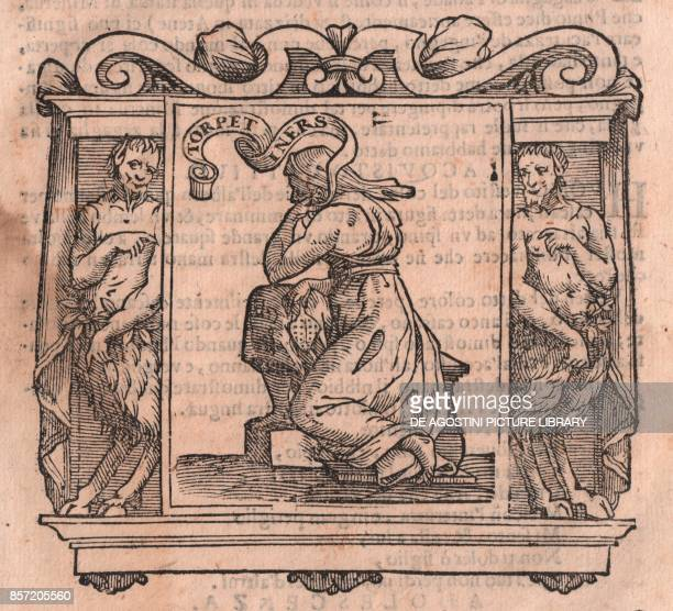 Sloth, allegorical figure, woodcut, cm 12x10, from Iconology by Cesare Ripa , printed in Siena, 1613.