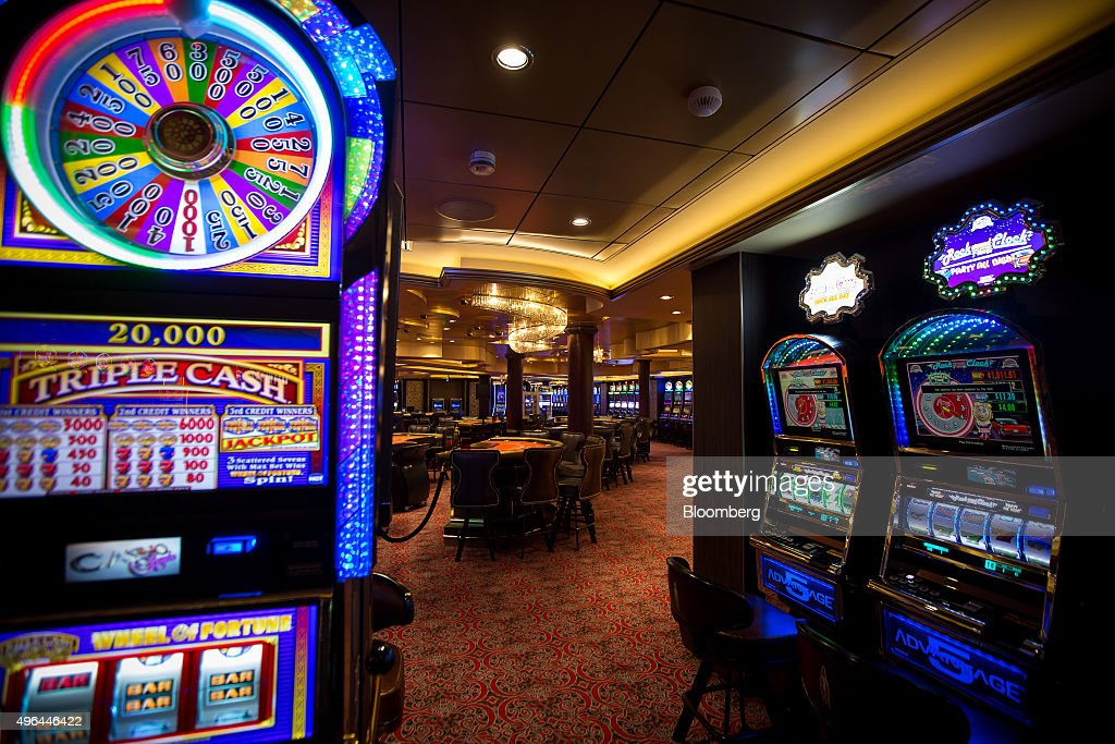 Slots Machines Sit In The Casino Onboard Royal Caribbean Cruises Ltd Quantum Class