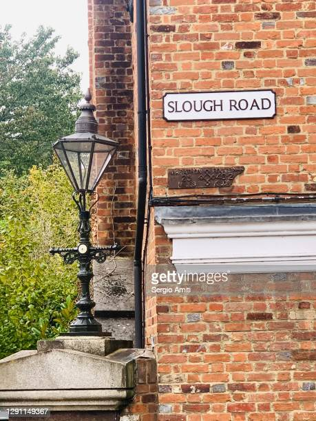 slough road sign in eton - windsor england stock pictures, royalty-free photos & images