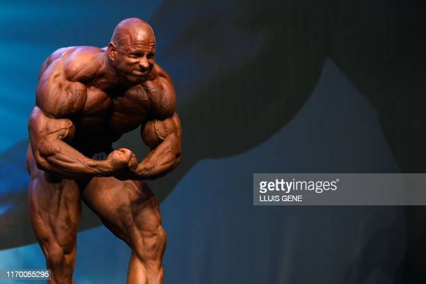 Slovak bodybuilder Michal Krizanek flexes his muscles for the judges during the Arnold Classic Europe 2019 bodybuilding competition in Barcelona on...