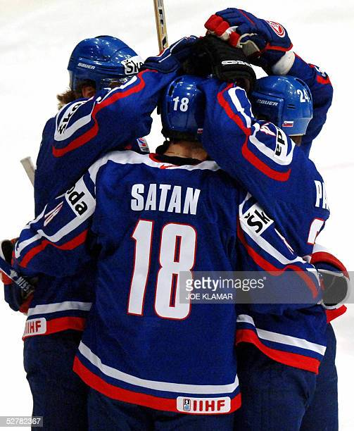Slovak captain Miroslav Satan celebrates with his teammates his goal to 1:0 against Kazakhstan during the qualifying group E match between Slovakia...